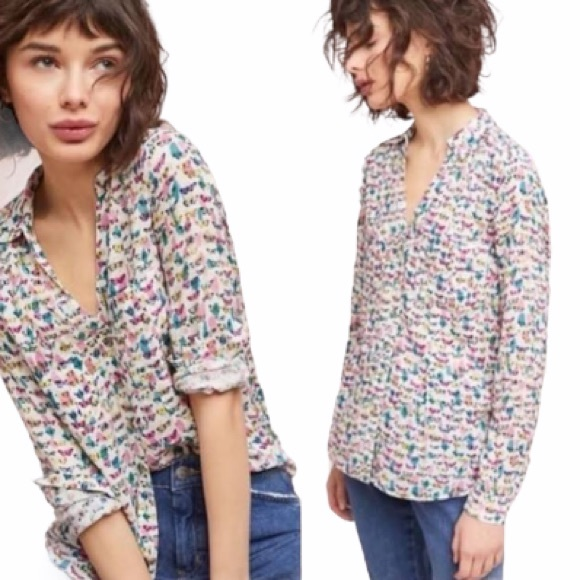 Anthropologie Maeve Rochelle Butterfly Button Down